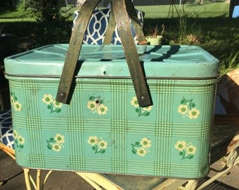 Vintage Green Tin Picnic Box Basket Vented With Wood Handles White FLowers Fabulous Storage Box