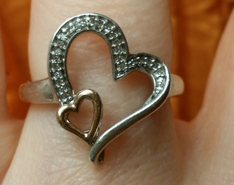 JWBR 10K and Sterling Silver Double Heart Ring Size 7 Clear Stones