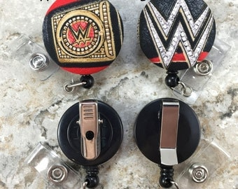 Retractable Badge Holder - Fabric Covered Button - WWE