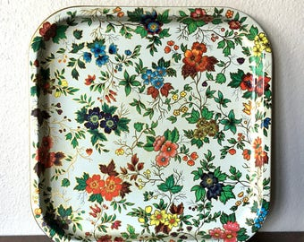 Vintage England Daher Floral Tin Tray / Colorful Decorative Tray
