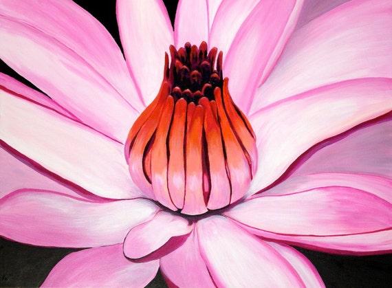 "Original Acrylic Painting. ""Pink Waterlily"""
