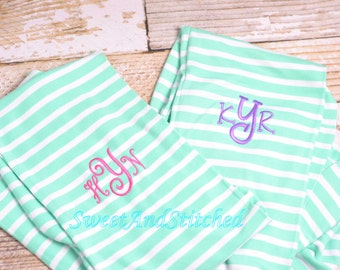 Monogrammed infinity scarf, Mint Green Infinity Scarf, Striped Scarf, Monogrammed Scarf, Personalized Scarf, Personalized Infinity Scarf