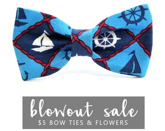 "Dog Bow Tie Collar Accessory Sale Navy Blue Nautical Anchor Summer Ready to Ship ""Pupeye"""