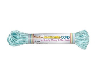 Metallic Plastic Canvas Cord by Darice(r) - Aqua and Silver - 15 yards (dar341214)