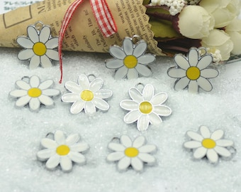 10PCS/Pack 27mm Metal Enameled Daisy Pendants,Daisy Charms,Jewellry Charms pendants E1612220006