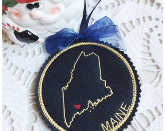 I Heart Maine Coaster and Ornament Machine Embroidery Design Instant Download I Love Maine with Positionable Heart