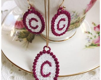 "Free Standing Lace Jewelry Set Letter ""C"" Embroidery Designs - Machine Embroidery Instant Download Designs"