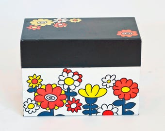 Vintage Tin Recipe Box, 1960s Flower Print Storage Container, Ohio Art Co Recipe File