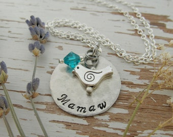 Mamaw necklace - bird necklace - birthstone crystal - mother's necklace - gift for grandma - silver charm - bird charm - hand stamped