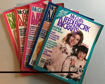 Lot of 5 Vintage McCall's Needlework & Crafts Magazines, 1984-1988