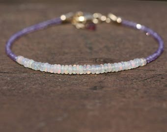 Natural Ethiopian Wello Opal and Amethyst Bracelet 14K Gold Filled , October February Birthstones , Wedding , 6th 14th Anniversary OOAK