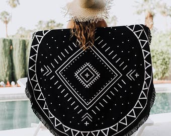 "Round Beach Towel - Roundie - Beach Blanket ""Joshua Tree"""