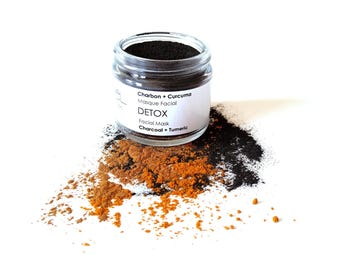 Facial Mask DETOX Facial Mask. Activated Charcoal + Multani Mitti + Tumeric + Chamomille + Marshmallow + Cinnamon + Clove