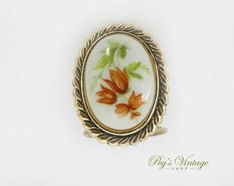 Sweet Vintage Floral Porcelain Scarf Clip / Slide, Western Germany Dress Clip Jewelry