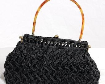 1950s Vintage black handbag