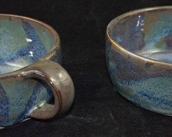 set of 2 blue green soup bowls