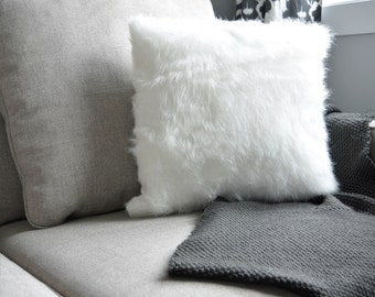 Faux Fur cover, furry pillow cover, decorative pillow,white pillow, fuzzy pillow, Square sofa, nursery pillow, home and living, home decor
