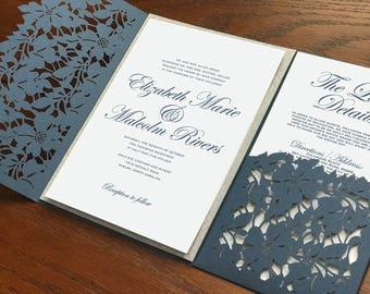 Slate Blue Dusty Blue Laser Cut Pocket wedding invitation
