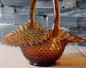 Fenton Amber Hobnail Glass Basket with Amber Handle and Ruffled, fluted Edges