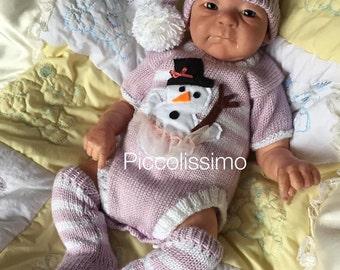 Knitting Pattern Snowman onesies newborn