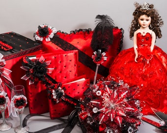 Black, Red, and Bling Quinceanera Package/Sweet 16 package