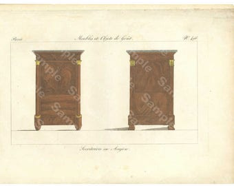 Original Antique Hand Colored Engraving, Furniture from Collection de Meubles et Objets de Goût by Pierre de La Mésangère (1761-1831)