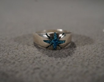 Vintage Sterling Silver Band Ring Multi Inlaid Turquoise Southwestern Style, Size 3.5