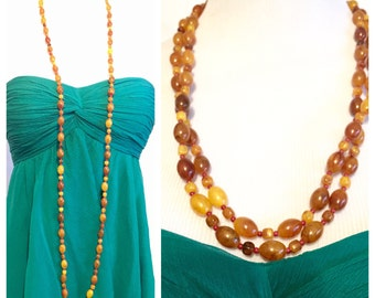 Vintage 1970's Long Strand of Nrown Beads, Long Beaded Necklace