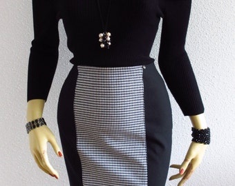 Pencil Skirt Stretch Black White Bi-Material