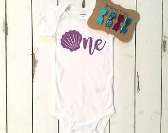 First birthday mermaid birthday mermaid shell shirt