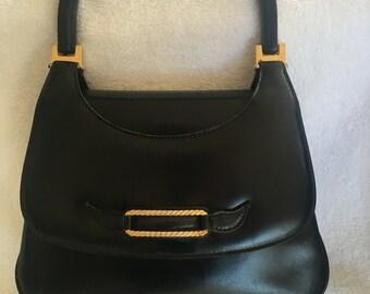 Vintage Gucci black leather top handle bag