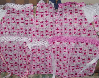 Hello Kitty Child Play Apron and potholders  white and pink