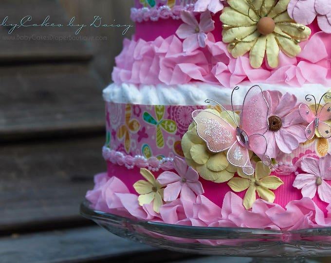 Pink Baby Girl Diaper Cake   Baby Shower Diaper Cake   It's a girl Diaper Cake   Pink Flowers Diaper Cake   Baby Shower Centerpiece