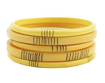 Set of Five Bakelite Bangles, Custard Bakelite Bangles, Custard Bakelite Stacking Bracelets, Yellow Bakelite Bracelets