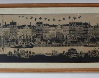 Vintage 1960s OriginaL Woodblock Print. Panoramic View of NYHAVN Harbour, Copenhagen. Signed SARO '64 FRAMED