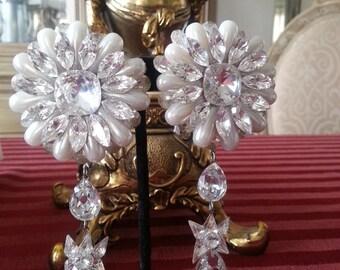 Majestic Swarovski Crystal and pearl chandelier earrings