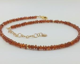 Hessonite bracelet or necklace double wrap, cinnamon beads, brown beaded bracelet, stacking bracelet, bead necklace