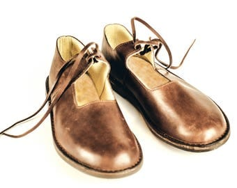 Brown Leather Shoes with Laces