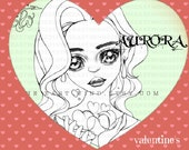 Digital stamp- Aurora 'be my Valentine'- 300 dpi 2 JPEG/PNG files - MAC0356