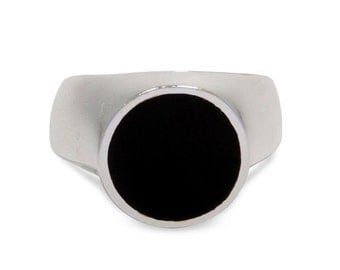 Circle Silver Ring Mens Signet Ring Womens Signet Ring 1033