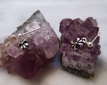 FLEUR POSTS, Sterling silver post earrings, silver stud earrings, sterling silver earrings, silver earrings, dangle earrings, silver dangle