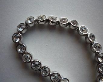 Vintage Swarovski Silver Tone Rhodium Plated Clear Crystal Tennis Bracelet Wedding Bridal
