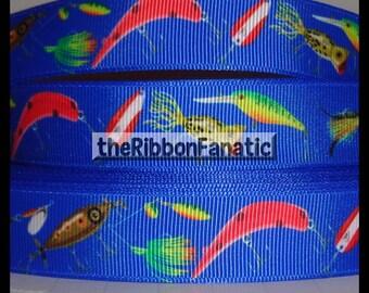 "5 yds 7/8"" Fishing Lures Fish Bait Tackle  Grosgrain Ribbon"