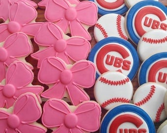 Gender Reveal Cookies - Baseballs or Bows