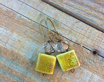 Ceramic earrings mustard earrings dangle earrings drop earrings earthy earrings boho earrings colorful earrings ethnic earrings
