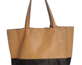 Large Tote Bag Leather Gold and Black