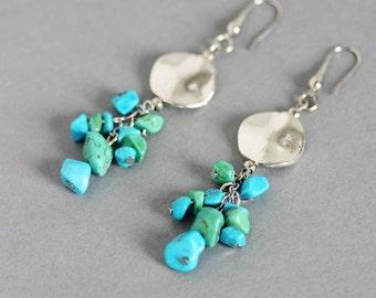 Rough Gemstone Earrings Amazonite Earrings Turquoise Earrings Stone Earrings Sea Earrings Aquamarine Earrings, Sea Jewelry Unique Earrings