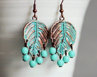 Copper Turquoise Earrings Blue Patina Earrings Copper Patina Earrings Leaf Earrings Copper Jewelry Boho Earrings Unique Earrings Turquoise