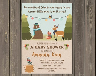 Woodland Baby Shower Invitations, Winter Woodland Baby Shower Invitation, Woodland Themed Shower, Bear, Deer, Fox, Owl, Printable & DIY