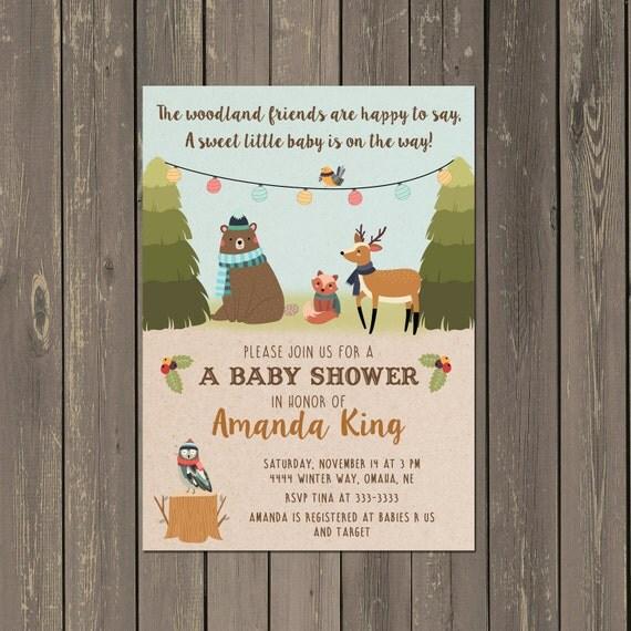 woodland baby shower invitations winter woodland baby shower